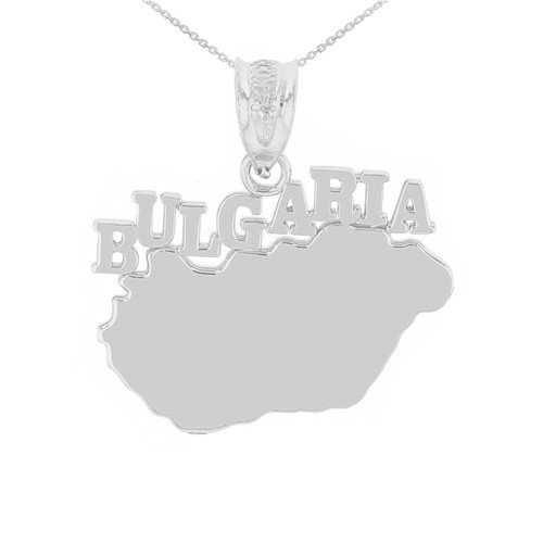 White Gold Bulgaria Country Pendant Necklace