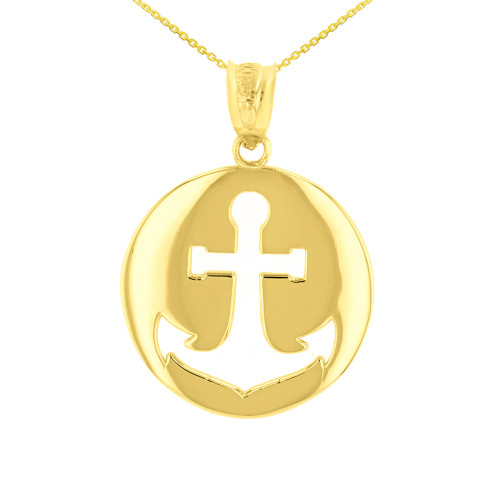 Yellow Gold Anchor Nautical Pendant Necklace