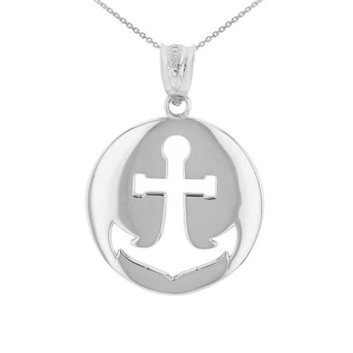 Sterling Silver Anchor Nautical Pendant Necklace