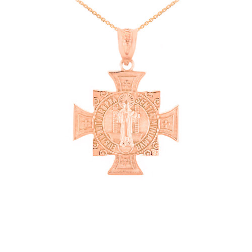 "Rose Gold Saint Benedict Cross Pendant Necklace (0.97"")"