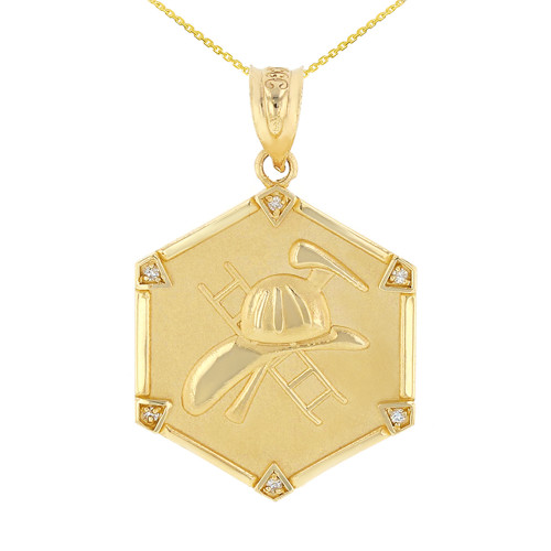 Yellow Gold  Firefighter Hexagon Diamond Pendant Necklace