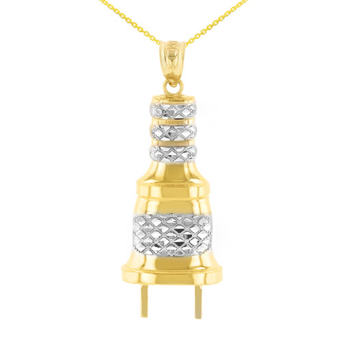 Yellow Gold Electric Plug Diamond Cut Textured Pendant Necklace