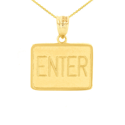 Yellow Gold Enter Exit Street Sign Pendant Double Sided Pendant Necklace