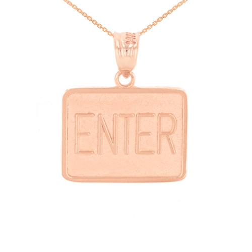 Rose Gold Enter Exit Street Sign Pendant Double Sided Pendant Necklace