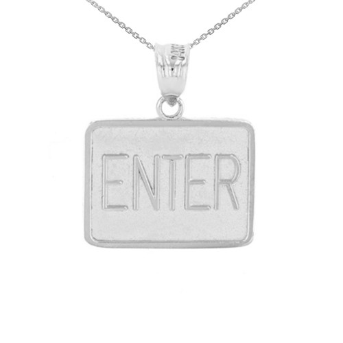 White Gold Enter Exit Street Sign Pendant Double Sided Pendant Necklace
