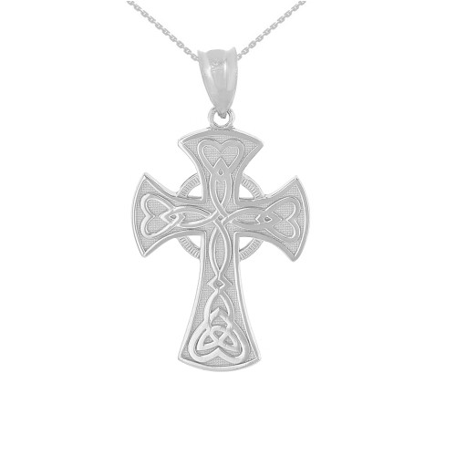 Solid White Gold Celtic Knot Halo Cross Woven Hearts Pendant Necklace