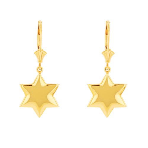 14K Solid Yellow Gold Star Earring Set