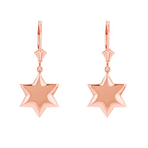 14K Solid Rose Gold Star Earring Set