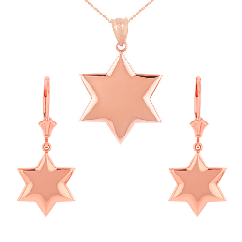 14K Solid Rose Gold Star Pendant Necklace Earring Set