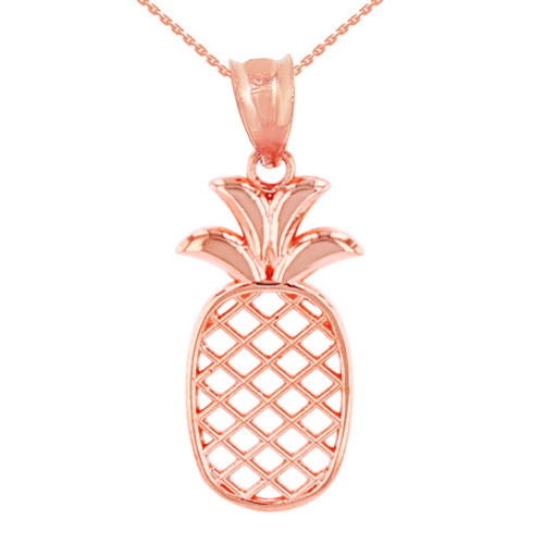 Solid Rose Gold Pineapple Pendant Necklace