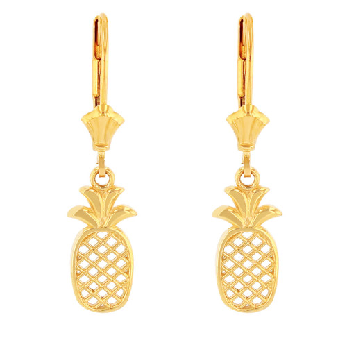 14K Solid Yellow Gold Pineapple Earring Set
