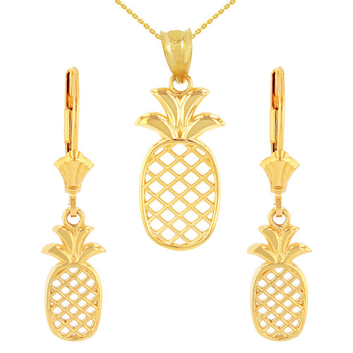 14K Solid Yellow Gold Pineapple Pendant Earring Set