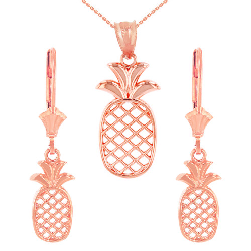 14K Solid Rose Gold Pineapple Pendant Earring Set