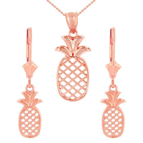 14K Solid Rose Gold Pineapple Pendant Earring Set