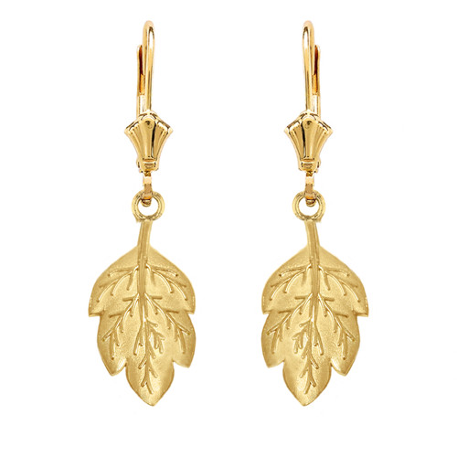 14K Solid Yellow Gold Matte Detailed Textured Leaf Drop Earring Set