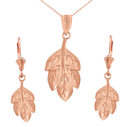 14K Solid Rose Gold Matte Detailed Textured Leaf Pendant Earring Set