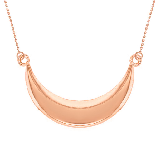 14K Solid Rose Gold Moon Crescent Pendant Necklace