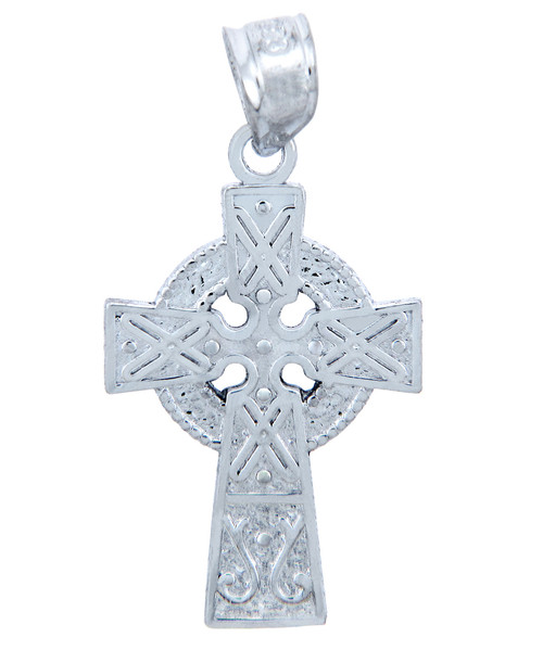 925 Sterling Silver Celtic Cross Medium Pendant