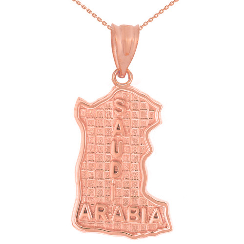 Solid Rose Gold Country of Saudi Arabia Geography Pendant Necklace
