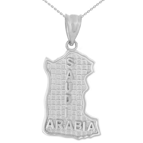 Solid White Gold Country of Saudi Arabia Geography Pendant Necklace