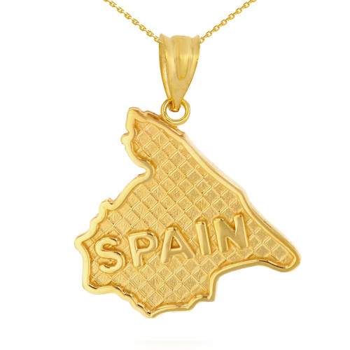 Solid Yellow Gold Country of Spain Geography Pendant Necklace
