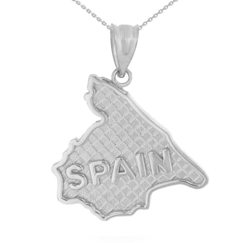 Sterling Silver Country of Spain Geography Pendant Necklace