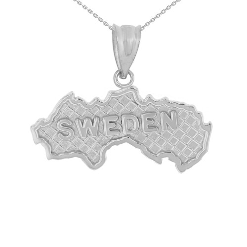 Solid White Gold Country of Sweden Geography Pendant Necklace