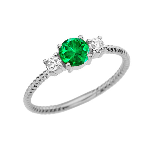 Dainty White Gold Emerald and White Topaz Rope Design Engagement/Promise Ring