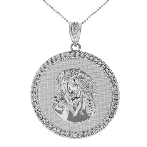 Solid White Gold  Cuban Curb Link Frame Circle Jesus Christ Medallion Pendant Necklace