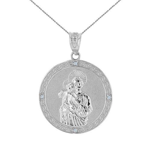 "Solid White Gold Saint Joseph Diamond Medallion Pendant Necklace  1.04"" ( 26 mm)"