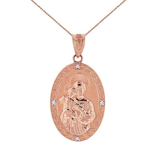 "Solid Rose Gold Saint Joseph Diamond Oval Medallion Pendant Necklace 1.02""  (25  mm)"