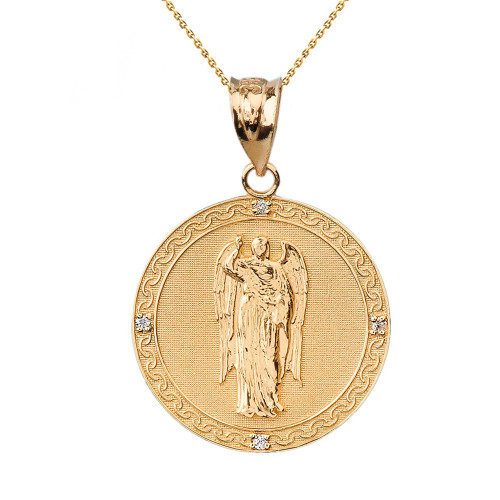 "Solid Yellow Gold Archangel Saint Gabriel Diamond Medallion Pendant Necklace   1.15"" ( 29 mm)"