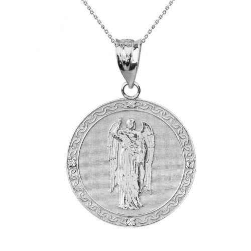 "Solid White Gold Archangel Saint Gabriel Diamond Medallion Pendant Necklace   1.15"" ( 29 mm)"
