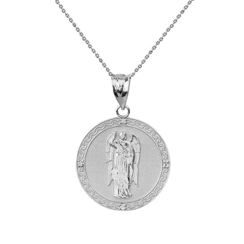 "Solid White Gold Archangel Saint Gabriel Diamond Medallion Pendant Necklace   1.02""  (25 mm )"