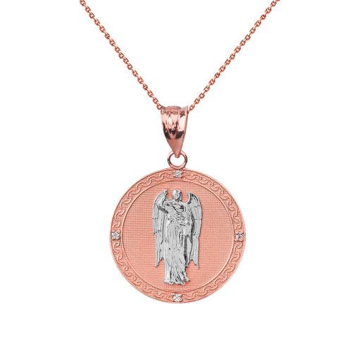 """Two Tone Solid Rose Gold Archangel Saint Gabriel Diamond Medallion Pendant Necklace   1.02""""  (25 mm )"""