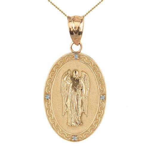 "Solid Yellow Gold Archangel Saint Gabriel Diamond Oval Medallion Pendant Necklace 1.19"" (  30 mm)"