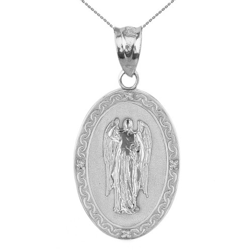 "Solid White Gold Archangel Saint Gabriel Diamond Oval Medallion Pendant Necklace 1.19"" (  30 mm)"