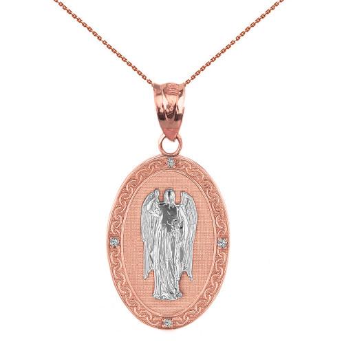 "Two Tone Solid Rose Gold Archangel Saint Gabriel Diamond Oval Medallion Pendant Necklace  1.02"" (25 mm)"