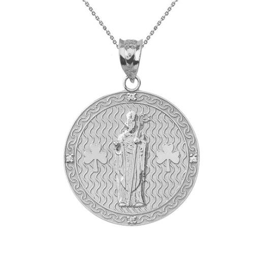 "Solid White Gold Saint Patrick Shamrock Diamond Medallion Pendant Necklace 1.16""  (29 mm)"