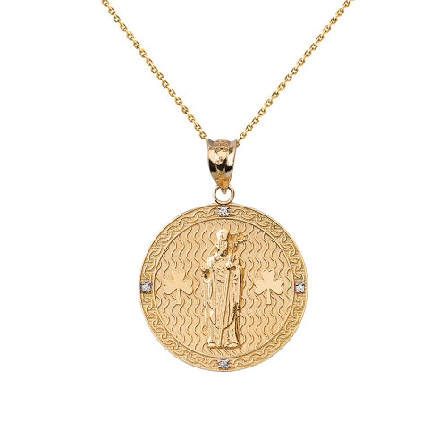"Solid Yellow Gold Saint Patrick Shamrock Diamond Medallion Pendant Necklace 1.05"" (26 mm)"
