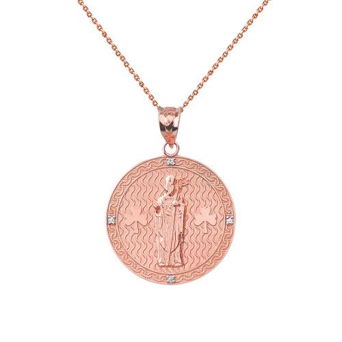 "Solid Rose Gold Saint Patrick Shamrock Diamond Medallion Pendant Necklace 1.05"" (26 mm)"