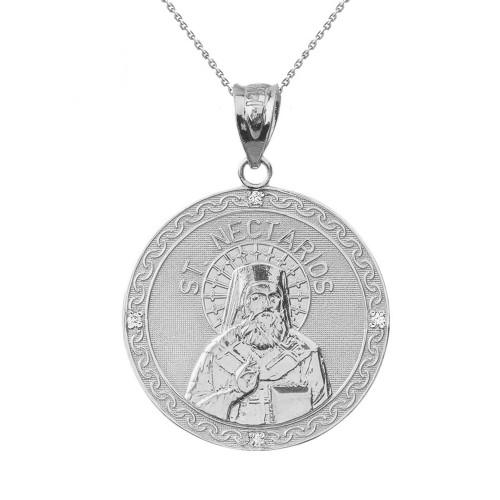 "Solid White Gold Greek Orthodox Saint Nectarios of Aegina Engravable Diamond Medallion Pendant Necklace  1.16 "" (29 mm)"