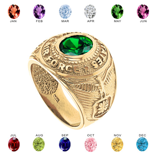 Solid Yellow Gold United States Air Force Men's CZ Birthstone Ring