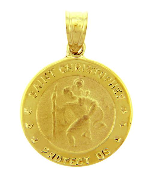14K Gold Religious Pendants - The Saint Christopher Protect Us Yellow Gold Pendant