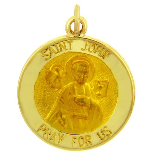 14K Gold Religious Pendants - The Saint John Pray For Us Yellow Gold Pendant