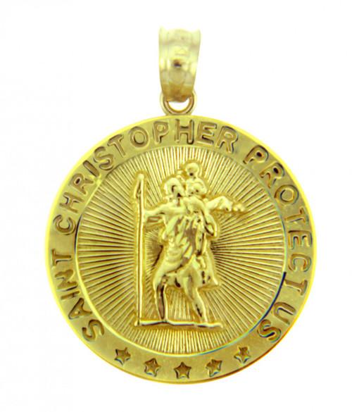 Gold Religious Pendants - The Saint Christopher Protect Us Round Yellow Gold Pendant