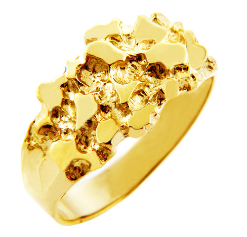 Men's Knight Solid Gold Nugget Ring