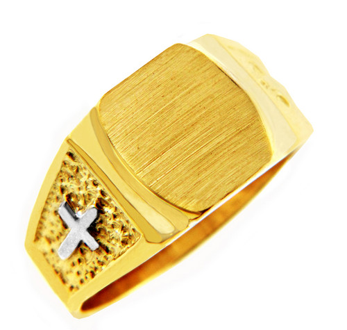 Mens Two-Tone Solid Gold Cross Signet Ring