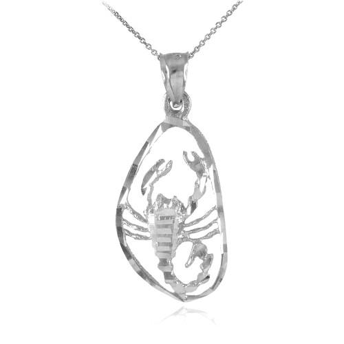White Gold Stunning Scorpio Zodiac Charm Scorpion Pendant Necklace
