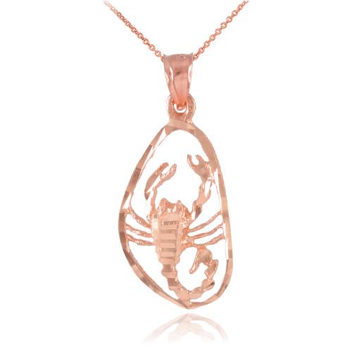 Rose Gold Stunning Scorpio Zodiac Charm Scorpion Pendant Necklace
